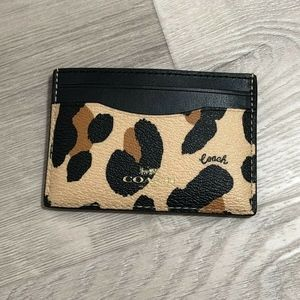 Coach Card Case With Animal Print Leopard